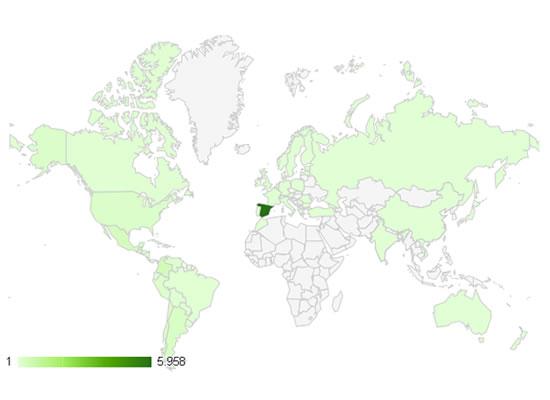 200.000 visitas: Gráfico de visitas por ubicación según Google Analytics